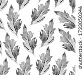Monochrome watercolor seamless pattern with gray leaves drawn by freehand on white. Halftones strokes of ink brush in free manner hand drawn elements in oriental botanical style for natural design.