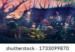 mushroom garden with wild... | Shutterstock .eps vector #1733099870