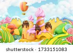 sweet candy land. 3d vector... | Shutterstock .eps vector #1733151083