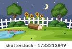 garden scene at night... | Shutterstock .eps vector #1733213849