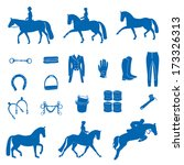 perfect equine icon set drawn... | Shutterstock .eps vector #173326313