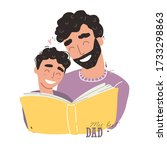 father reading a book to his... | Shutterstock .eps vector #1733298863
