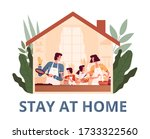 a cheerful family stays at home ... | Shutterstock .eps vector #1733322560