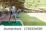 Healthy Sport.  Asian Golfer...