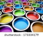 paint cans color palette | Shutterstock . vector #173334179