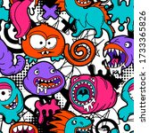 seamless pattern with cartoon...   Shutterstock .eps vector #1733365826