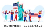 celebrating 4th of july  usa...   Shutterstock .eps vector #1733376623