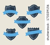 blue ribbons and badges.flat... | Shutterstock .eps vector #173339156