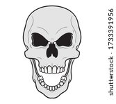 evil laughing skull with angry...   Shutterstock .eps vector #1733391956