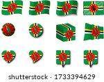various designs of the dominica ...   Shutterstock . vector #1733394629