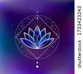magic blue cosmic lotus inside... | Shutterstock .eps vector #1733423243