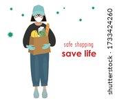 safe shopping. save life.... | Shutterstock .eps vector #1733424260