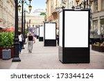 empty vertical billboard on the ... | Shutterstock . vector #173344124