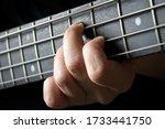 Bass Guitar Player Hand Close...