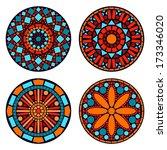 colorful circle floral mandalas ... | Shutterstock .eps vector #173346020