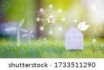 small white house on green... | Shutterstock . vector #1733511290