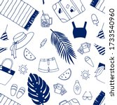 seamless summer pattern with... | Shutterstock .eps vector #1733540960