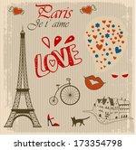 vintage card of paris | Shutterstock .eps vector #173354798