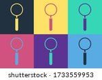Pop Art Magnifying Glass Icon...