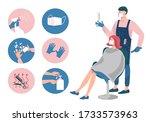 hair salon during a coronavirus.... | Shutterstock .eps vector #1733573963
