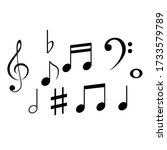 set of black musical notes on a ...   Shutterstock .eps vector #1733579789
