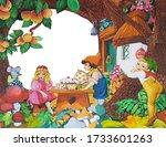 fairytale residents drink tea... | Shutterstock . vector #1733601263