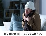 Small photo of Cold adult woman covered with clothes freezing sitting on the sofa at night at home