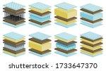 mattress vector cartoon set... | Shutterstock .eps vector #1733647370