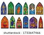 Church Windows Cartoon Set Icon....