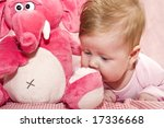 baby and elephant - stock photo