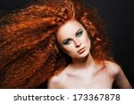 red hair. fashion girl portrait.... | Shutterstock . vector #173367878
