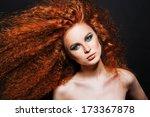red hair. fashion girl portrait.... | Shutterstock . vector #173367878