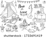 picnic at home. home insulation ... | Shutterstock .eps vector #1733691419