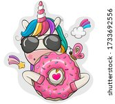 cute cartoon unicorn with donut ... | Shutterstock .eps vector #1733692556