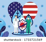 people fight coronavirus covid... | Shutterstock .eps vector #1733721569