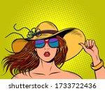 beautiful woman in a wide... | Shutterstock .eps vector #1733722436