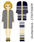 girl model in knitted outerwear.... | Shutterstock .eps vector #1733733659