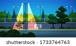 city park banner on fence... | Shutterstock .eps vector #1733764763