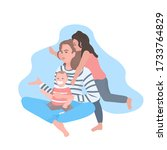 mother sitting with daughter... | Shutterstock .eps vector #1733764829