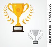 winner solid trophy icon with... | Shutterstock .eps vector #1733769080