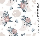 seamless pattern with floral... | Shutterstock .eps vector #1733785766