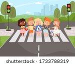 crossroad rulles. children... | Shutterstock .eps vector #1733788319