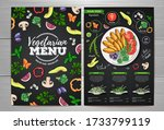 vegetarian menu design with... | Shutterstock .eps vector #1733799119