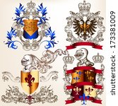 collection of heraldic shield... | Shutterstock .eps vector #173381009