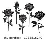 vector silhouettes of roses...   Shutterstock .eps vector #1733816240