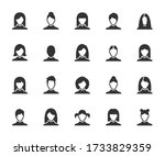 vector set of woman flat icons. ... | Shutterstock .eps vector #1733829359