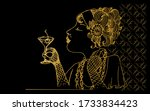 a young beautiful woman drinks... | Shutterstock .eps vector #1733834423