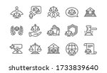 Court Line Icons Set. Judge ...