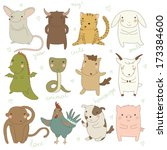 chinese astrology. rat  ox ... | Shutterstock .eps vector #173384600