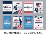 usa independence day cards. set ... | Shutterstock .eps vector #1733847650